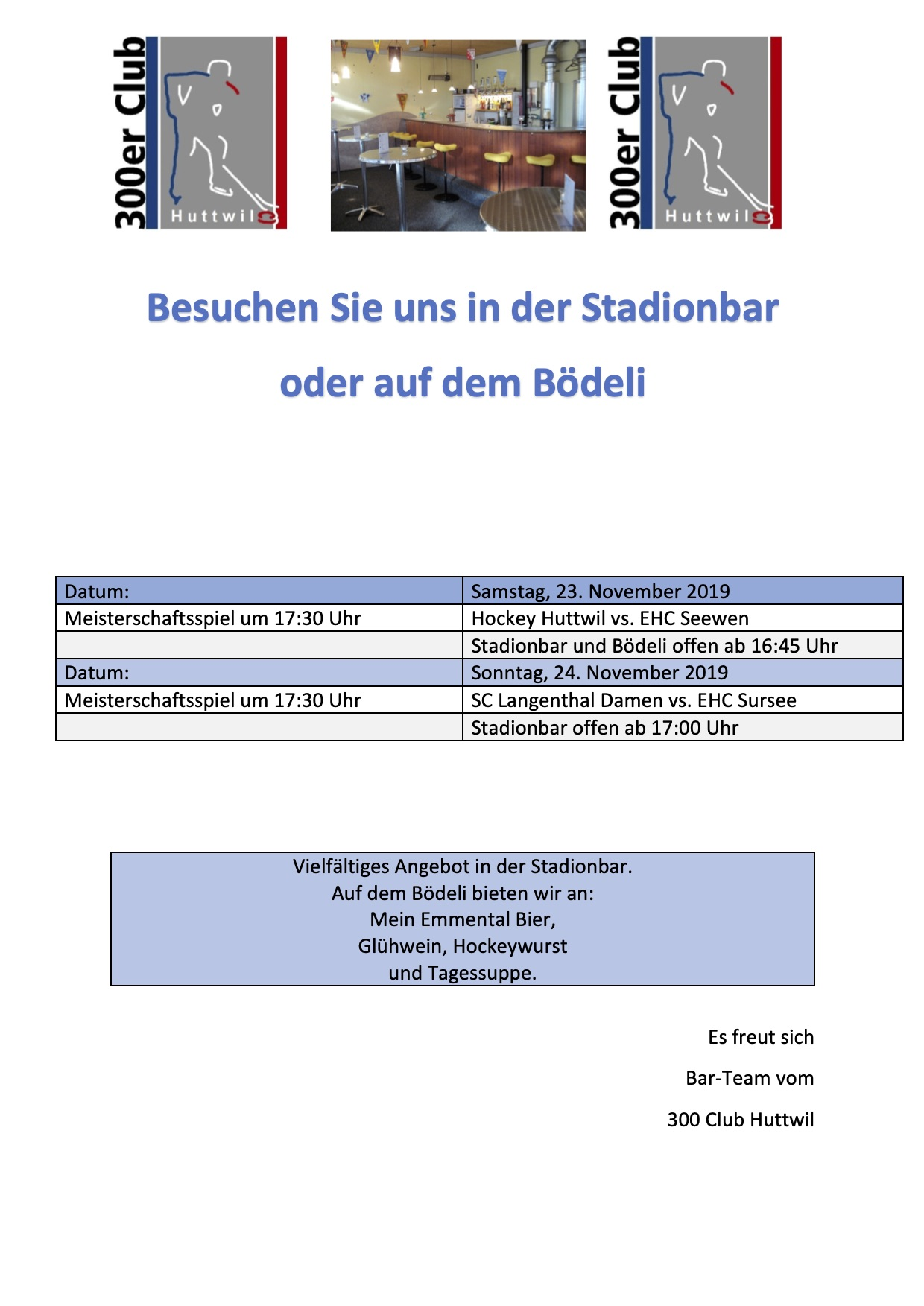 Flyer Hockeyspiel KW 47